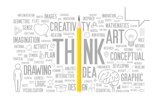 Imagine the involvement of pencil with creativity. A visual representation of a yellow pencil (photo) that goes hand in hand with a creative words cloud and illustration.