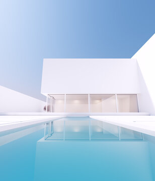 Modern Luxury Minimalist Mansion Villa Large Exterior with Cherry Blossom Tree and White Stone Slab Garden and Pool 3d illustration render