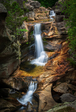 Gorgeous waterfalls in rocky gorge screw auger falls