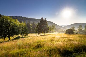 Obraz Krajobraz górski o poranku - fototapety do salonu