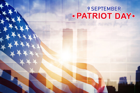 America flag with Patriot day text