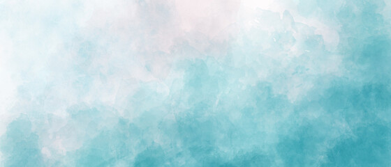 Fototapeta light blue sky gradient watercolor background with clouds texture obraz
