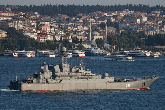 The Russian Navy's large landing ship Korolev sails in Istanbul's Bosphorus