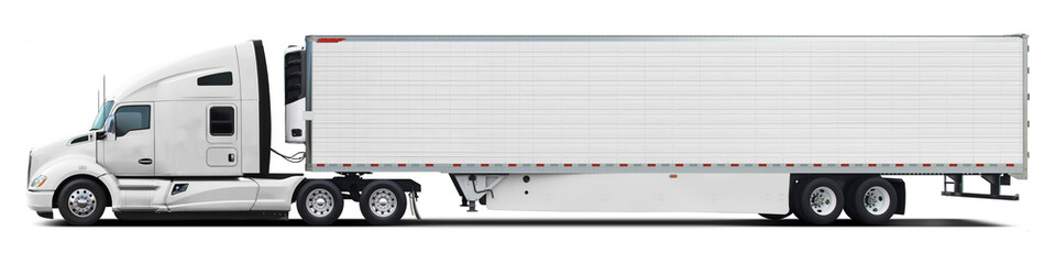 Fototapeta A large modern American truck in all white color. Side view isolated on white background. obraz