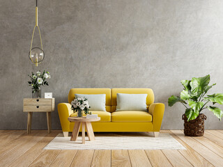 Obraz Yellow sofa and a wooden table in living room interior with plant,concrete wall. - fototapety do salonu