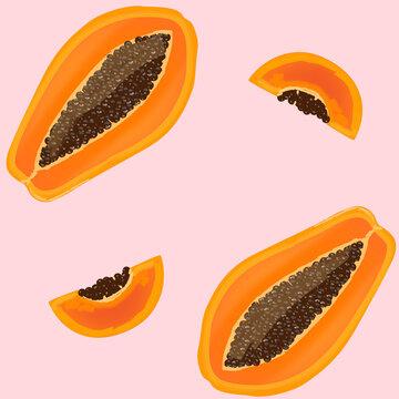 Pattern with papaya. Vector Illustration.