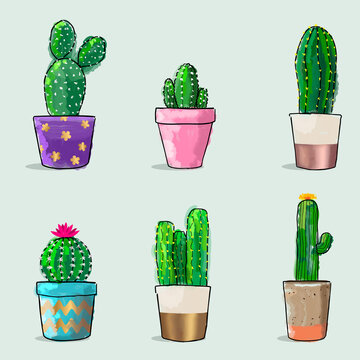 Watercolor Cactuses Pattern. Vector Illustration