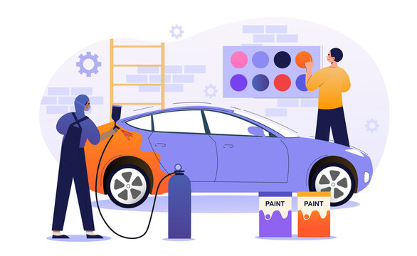Male character is working in car painting service. Male painter working with sprayer equipment. Man in mask painting auto body in color chosen by driver, car workshop. Flat cartoon vector illustration