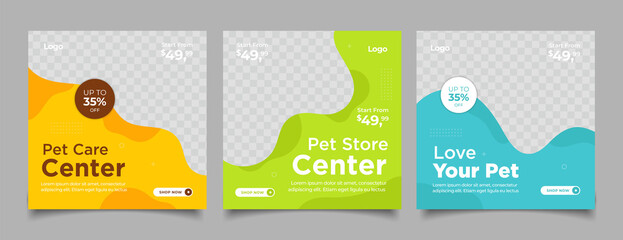 Obraz Pet shop social media post template design with photo collage. - fototapety do salonu