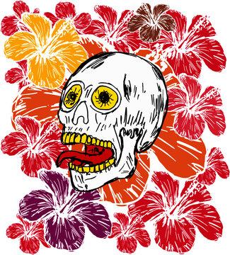 Tattoo tribal skull and hibiscus graphic design vector art