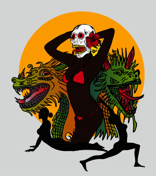 Tattoo flash dragon skull bikini girls graphic design vector art