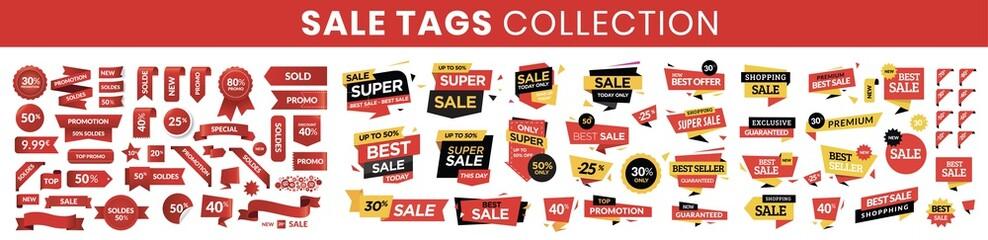 Sale tags collection. Special offer, big sale, discount, best price, mega sale banner set.