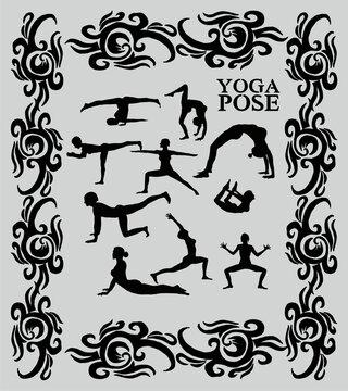 California tattoo yoga graphic design vector art