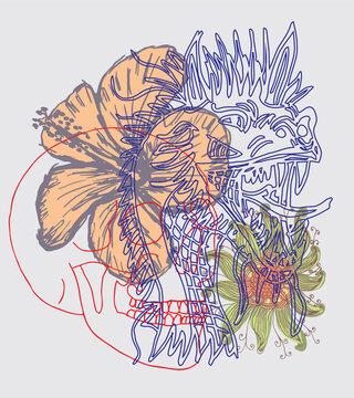 Tattoo tribal skull dragon and hibiscus graphic design vector art