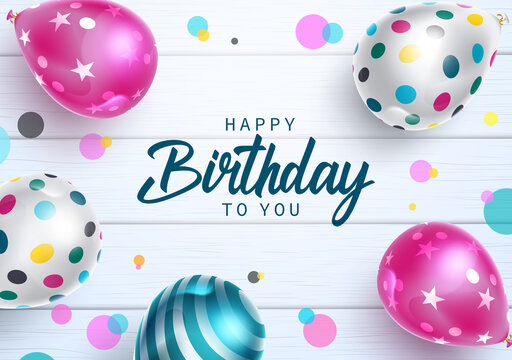 Happy birthday vector design. Happy birthday to you text with colorful balloons pattern element in circle dots and wooden background for celebrating birth day party decoration. Vector illustration