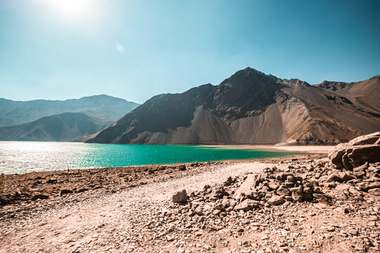 Cajon del Maipo canyon and Embalse El Yeso, Andes, Chile. South America.