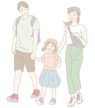 お出かけする家族(パステルカラー)