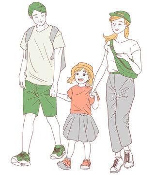 お出かけする家族(シンプルカラー)