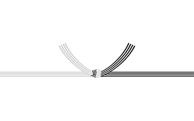 Fototapeta 日本の伝統的な飾り紐、水引、黒白偶数4本、結び切り obraz