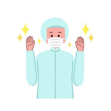 手を洗った食品工場作業員のイラスト