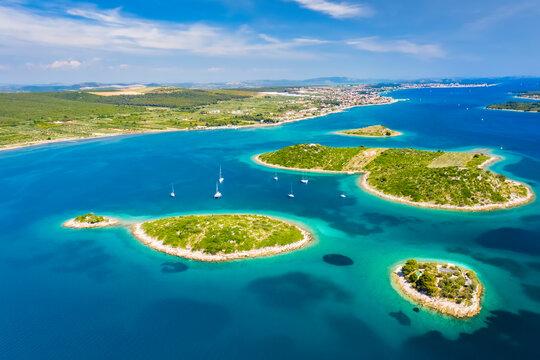 Aerial view of Kornati island archipelago at sunrise. Kornati National Park, Croatia.