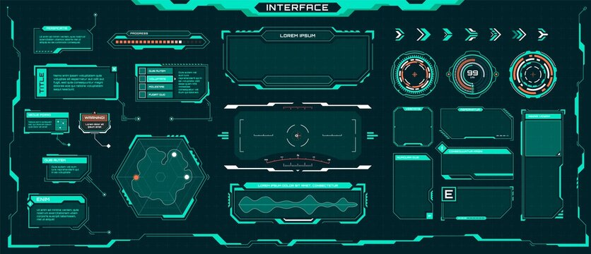 Futuristic ui elements. Sci-fi digital frames, arrows, callout titles, optical aim. Abstract cyberpunk virtual hud interface vector set. Dashboard display with menu window for game