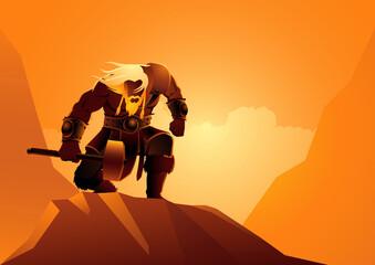 Obraz Viking warrior pose with his hammer - fototapety do salonu