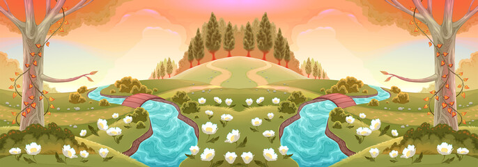 Romantic scenery with rivers and flowers. Vector landscape illustration