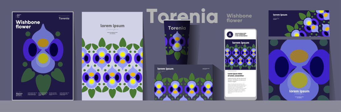 Flowers and plants. Wishbone flower. Corporate identity. Set of vector illustrations. Floral background pattern. Design of cup, poster, banner, packaging, price tag and cover.