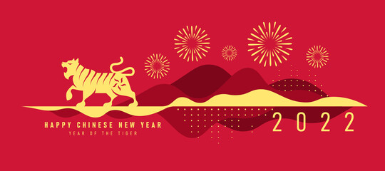 Obraz chinese new year 2022, year of the tiger banner with gold tiger zodia are roaring stand on abstract modren curve mountain and firework vector design - fototapety do salonu