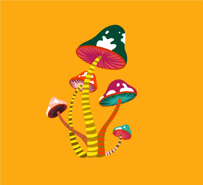 Psychedelic Mushroom. Seventies style vector icon.