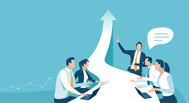 Business plan. Team leader presents new business target. Vector illustration.