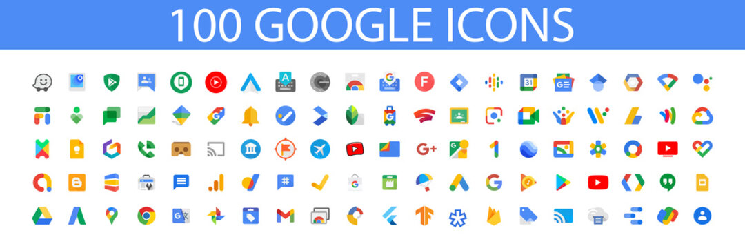 Google LLC. Official logotypes of Google Apps. Youtube Apps. Google Fi, Digital Wellbeing, Finance, Family Link, Shopping, Tasks, Alerts, Travel, Snapseed, Stadia etc. Kyiv, Ukraine - July 12, 2021