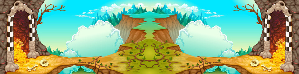 Fantasy landscape with caverns and treasures. Vector cartoon illustration, the sides repeat seamlessly for a possible, continuous animation.