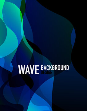 Vertical fluid gradient wave abstract background. Bright color waves in the dark. Vector Illustration For Wallpaper, Banner, Background, Landing Page