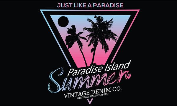 Palm tree summer paradise t s shirt design. Gradient background beach artwork.