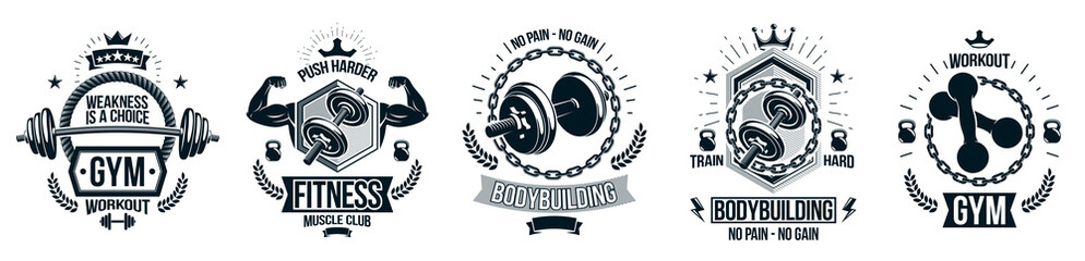 Fototapeta Gym fitness sport emblems and logos vector set isolated with barbells dumbbells kettlebells and muscle body man silhouettes and hands, athletics workout sport club, active lifestyle. obraz