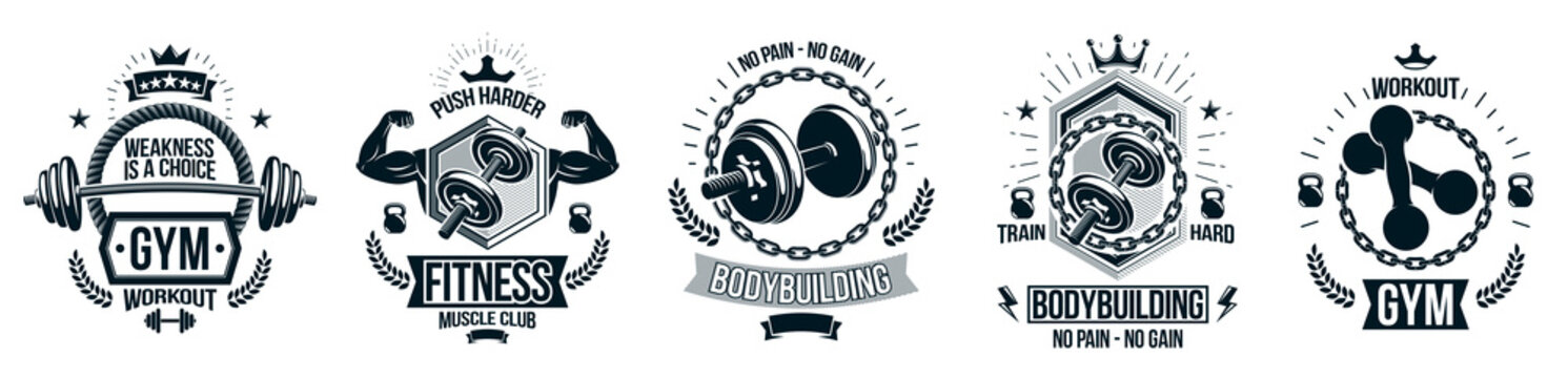 Gym fitness sport emblems and logos vector set isolated with barbells dumbbells kettlebells and muscle body man silhouettes and hands, athletics workout sport club, active lifestyle.