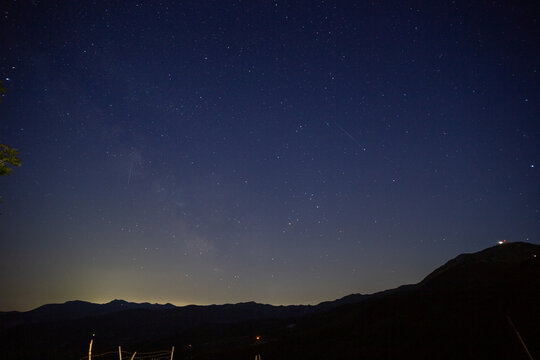 summer starry shooting stars and planets