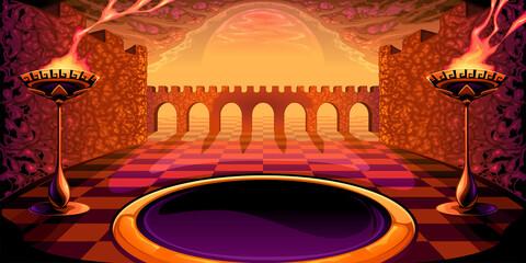 View on the labyrinth. Mythological vector illustration