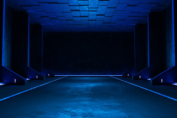 Fototapeta Empty dark room, Modern Futuristic Sci Fi Background obraz