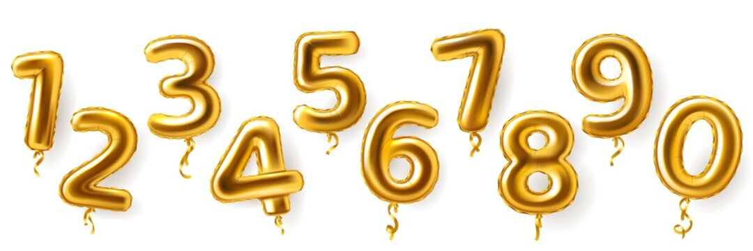 Golden number balloons. Realistic metal air party decor. Anniversary celebration numeral shapes from zero to nine. 3D festive events greeting inflatable metallic figures, vector set