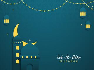 Obraz Islamic festival of sacrifice Eid-Ul-Adha Mubarak background with paper mosque, crescent moon and hanging lanterns. - fototapety do salonu