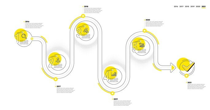 Business Infographic timeline with 5 steps. Journey path workflow infographics. Workflow process diagram with Research, Working idea, Teamwork and Money reward line icons. Vector