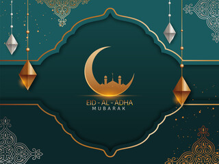 Obraz Islamic festival of sacrifice concept with Arabic calligraphic text Eid-Ul-Adha Mubarak and golden crescent moon, mosque and silver and golden ornaments. - fototapety do salonu