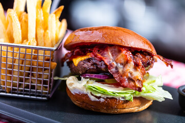 Burger and french fries meal in american restaurant