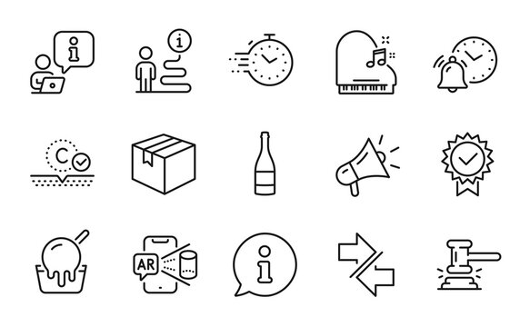 Business icons set. Included icon as Champagne bottle, Piano, Parcel signs. Ice cream, Alarm clock, Synchronize symbols. Collagen skin, Augmented reality, Judge hammer. Certificate, Timer. Vector