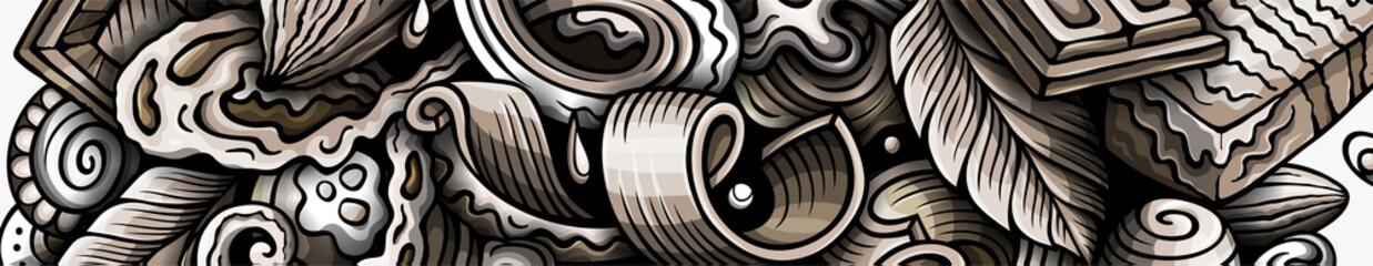 Fototapeta Chocolate hand drawn doodle banner. Cartoon vector detailed flyer. obraz