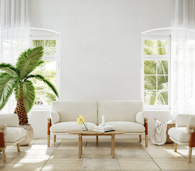 Fototapeta Home mockup, living room interior of Spanish villa, 3d render obraz