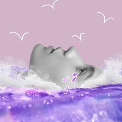 Fototapeta Modern design, contemporary art collage. Inspiration, idea, trendy urban magazine style. Female beautiful face in the sea on pastel pink background obraz